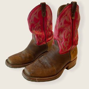Double H Roger Red and Brown Leather Boots with Colorful Stitching Sz 10 2E